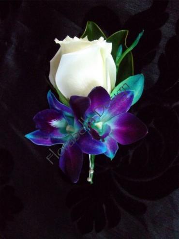 White Rose w/ Blue Orchids