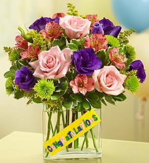 Congratulations Bouquet in Rectangular Vase
