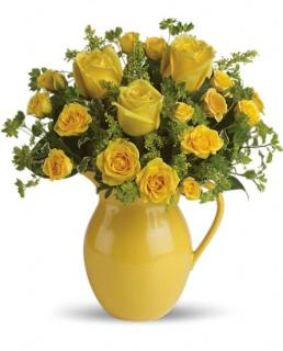 Teleflora\'s Sunny Day Pitcher of Roses