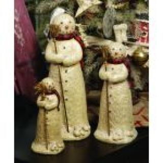 Small Snowman With Broom Figurine