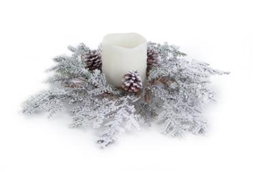 Snowy Juniper Candle Ring
