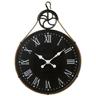 Distressed Black Wall Clock with Pulley