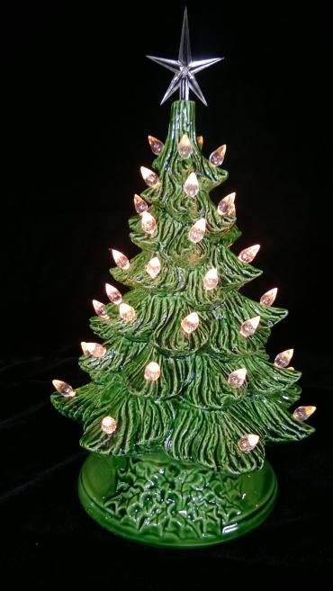 Green Ceramic Tree-wht lights-md