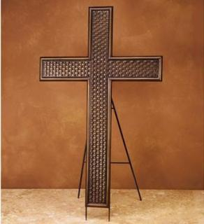 Large Metal Cross on Easel
