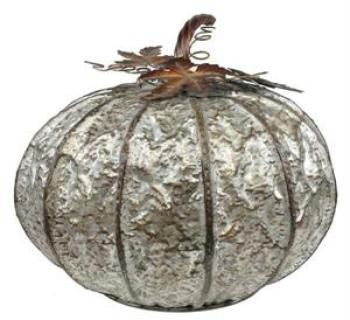 Short Galvanized Tin Pumpkin