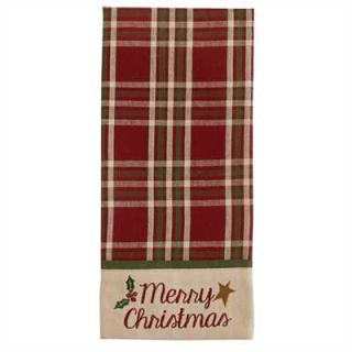 Merry Christmas Embroidered Dishtowel