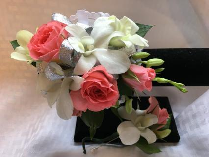 Peach Rose and Orchid Corsage