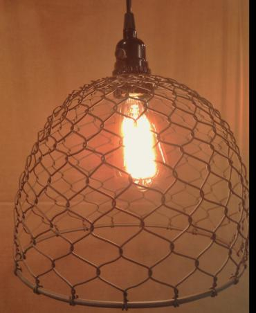 Vinatge Chicken Wire Light with Bulb