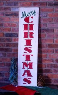 Rustic Vertical Merry Christmas Sign