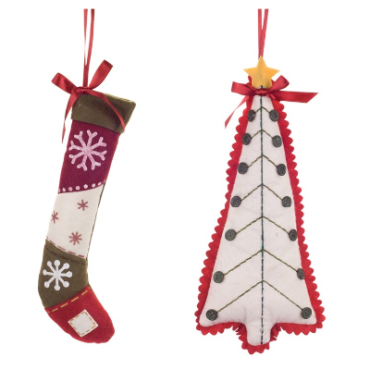 Tree and Stocking Ornament