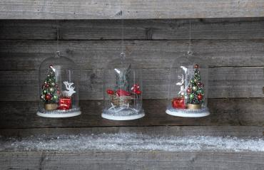 Glass Cloche w/ Christmas Scene