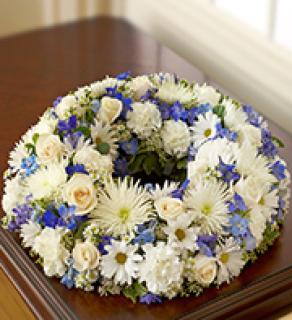 Cremation Wreath-Blue & White