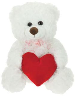"11"" White Plush Bear"