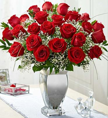 Premium Long Stem Roses in Silver Plated Vase